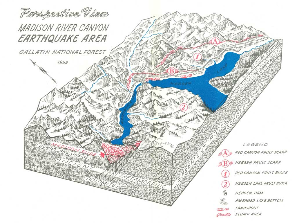 Madison River Canyon Earthquake area map.