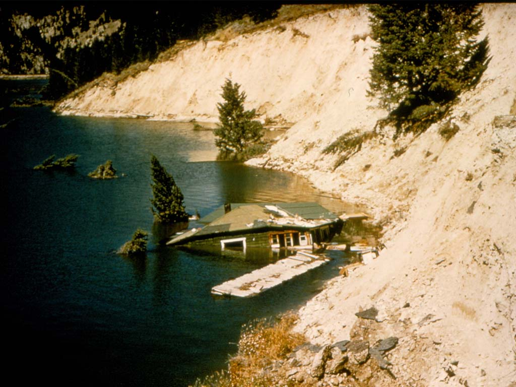 Hebgen Lake cabin damage.