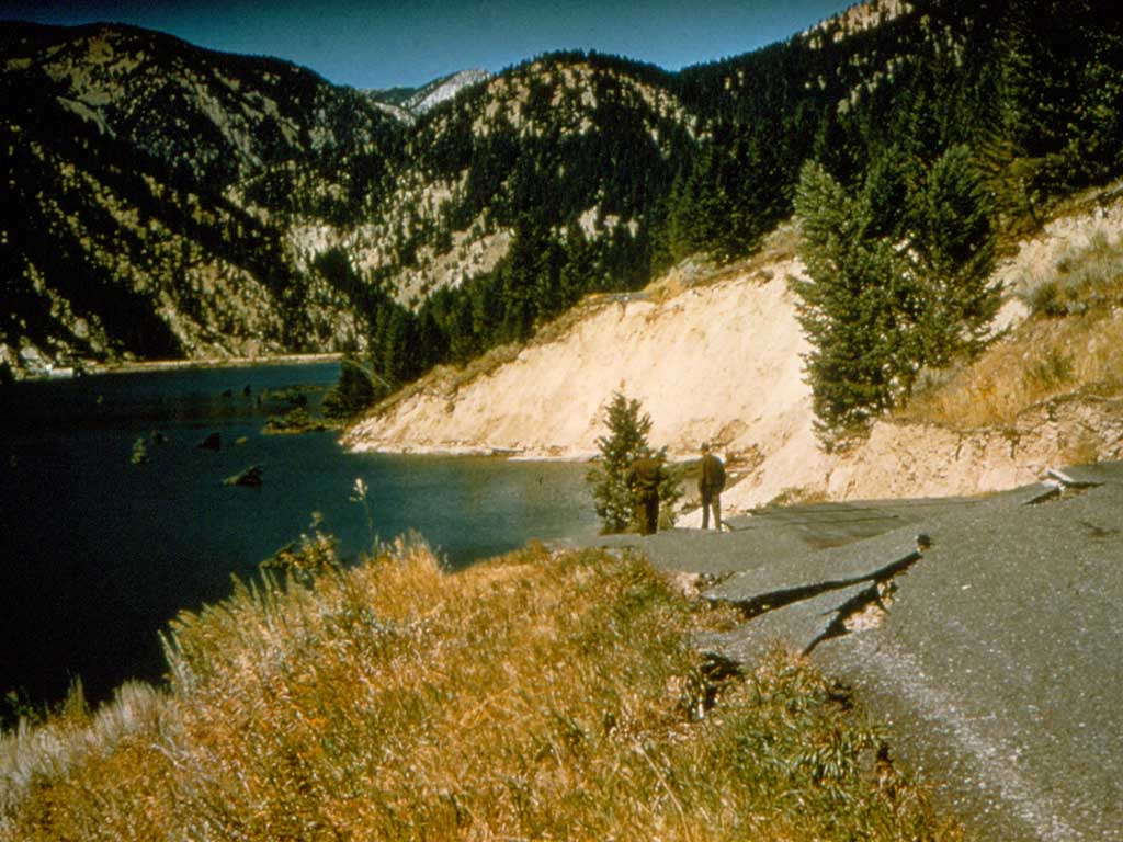 Damage to the highway at Hebgen Lake.