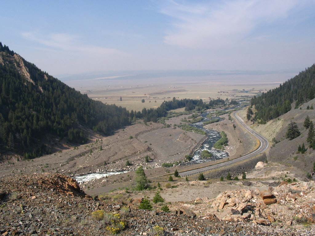A view of the slide area and road today.