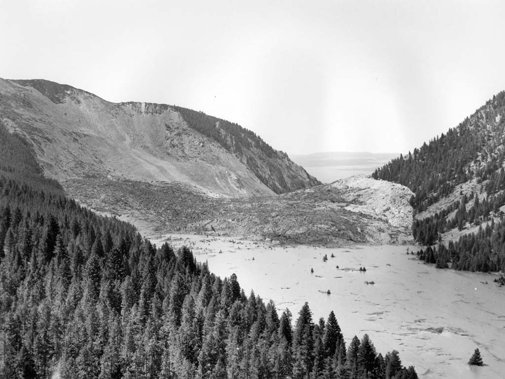 Aerial view of the Madison River Canyon Earthquake slide.