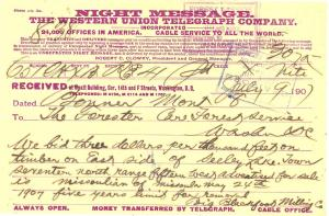 Western Union Telegram from the Big Blackfoot Milling Company to the U.S.F.S. bidding $3 per thousand feet of timber.